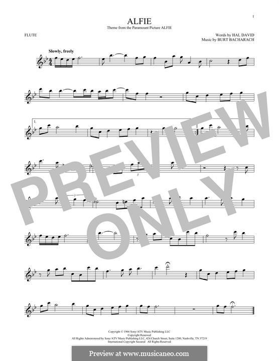 Alfie: For flute (Dionne Warwick) by Burt Bacharach