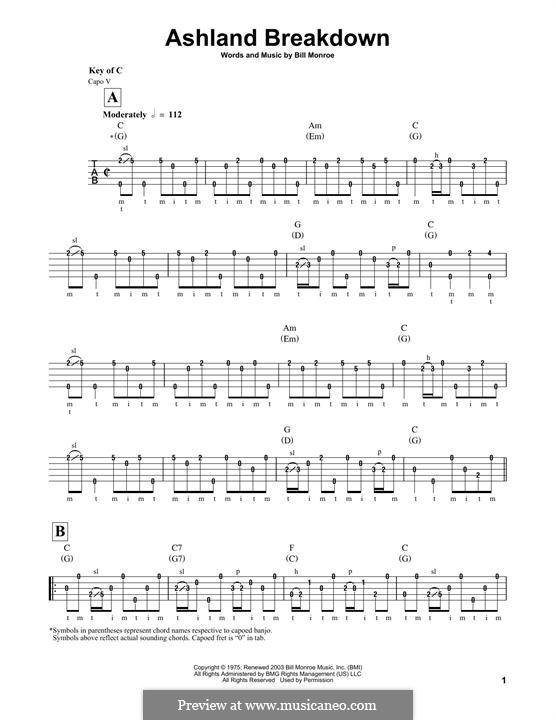 Ashland Breakdown: For banjo by Bill Monroe