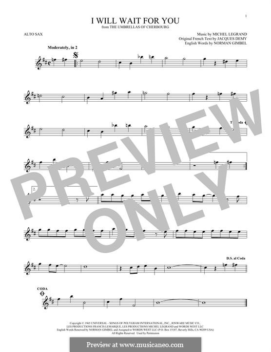 I Will Wait for You: For alto saxophone by Michel Legrand