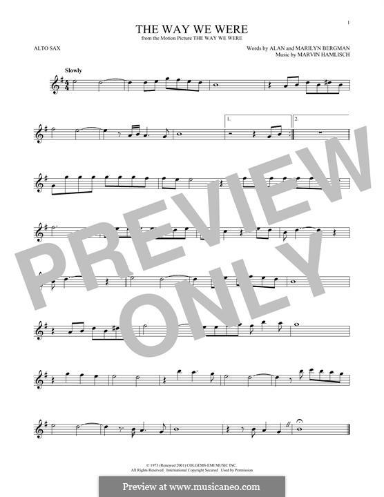 The Way We Were (Barbra Streisand): For alto saxophone by Marvin Hamlisch