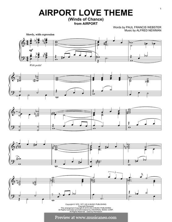 Airport Love Theme (Winds of Chance): For piano by Alfred Newman
