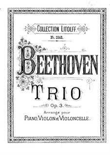String Trio No.1 in E Flat Major, Op.3: Version for piano trio by Ludwig van Beethoven