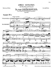 Sonata for Cello and Piano No.1 in F Major, Op.5: Score by Ludwig van Beethoven