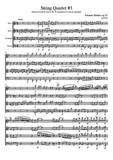 String Quartet No.3 in B Flat Major, Op.67: Version for wind quartet - score, parts by Johannes Brahms