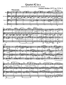 String Quartet No.2 in A Minor, Op.51: Version for wind quartet - score, parts by Johannes Brahms