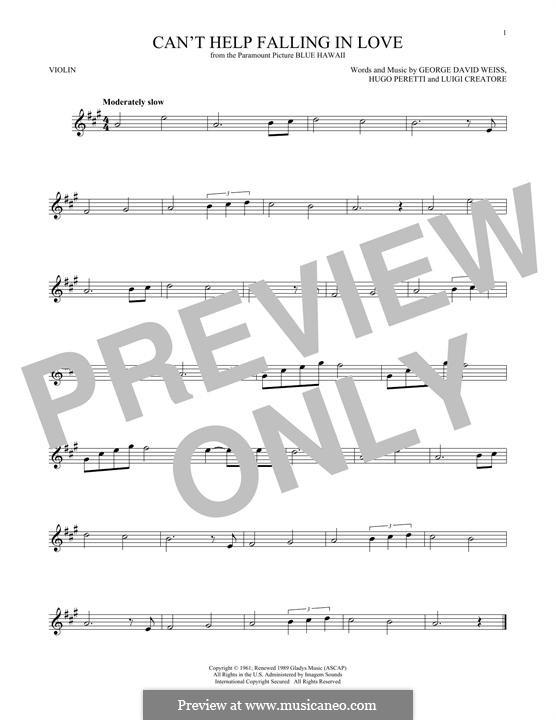 Can't Help Falling in Love: For violin by George David Weiss, Hugo Peretti, Luigi Creatore
