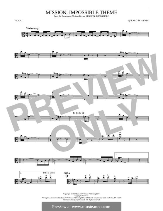 Mission: Impossible Theme: For viola by Lalo Schifrin