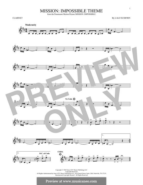 Mission: Impossible Theme: For clarinet by Lalo Schifrin
