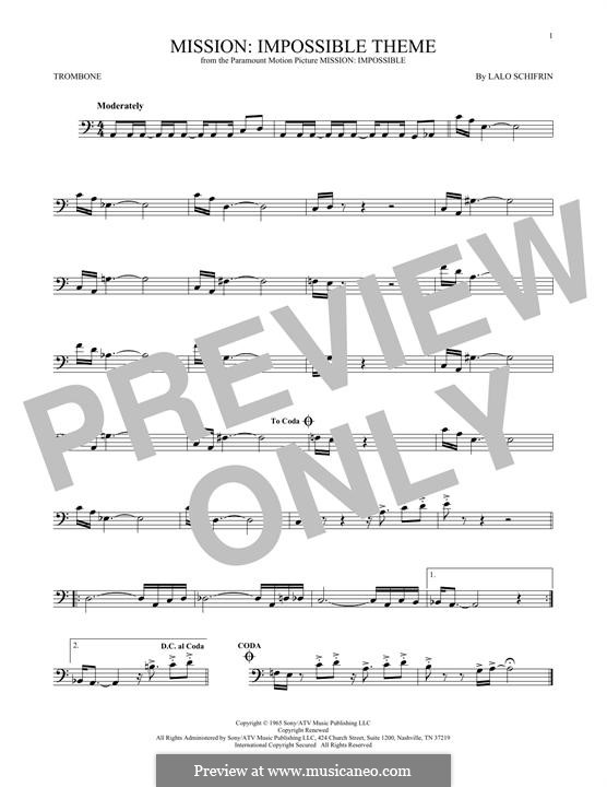 Mission: Impossible Theme: For trombone by Lalo Schifrin