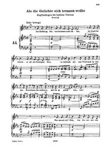 Als die Geliebte sich trennen wollte, WoO 132: Piano score with vocal part by Ludwig van Beethoven