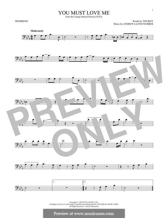 You Must Love Me: For trombone by Andrew Lloyd Webber