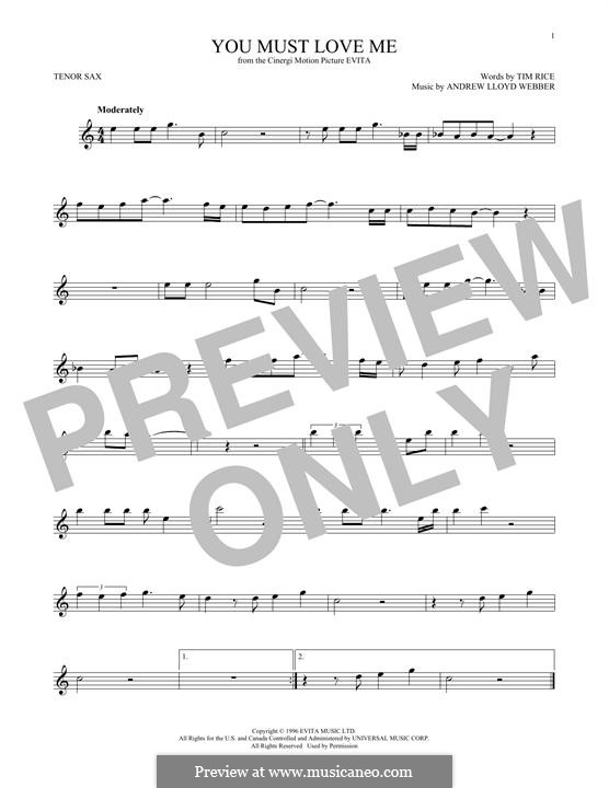 You Must Love Me: For tenor saxophone by Andrew Lloyd Webber
