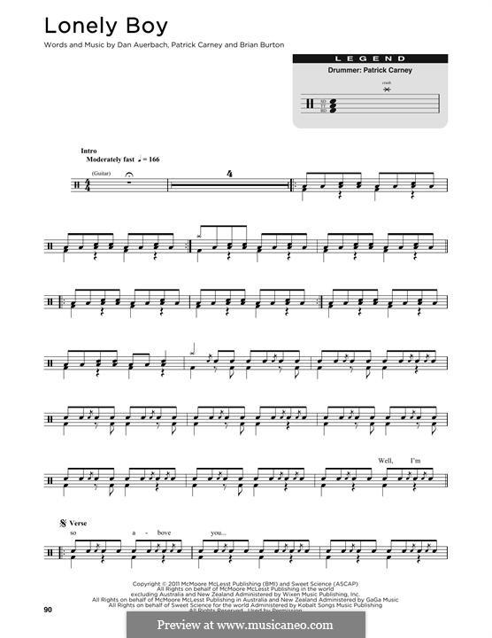 Lonely Boy (The Black Keys): Drum set by Brian Burton, Daniel Auerbach, Patrick Carney