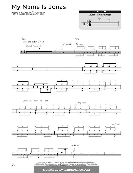 My Name Is Jonas (Weezer): Drum set by Jason Cropper, Patrick Wilson, Rivers Cuomo