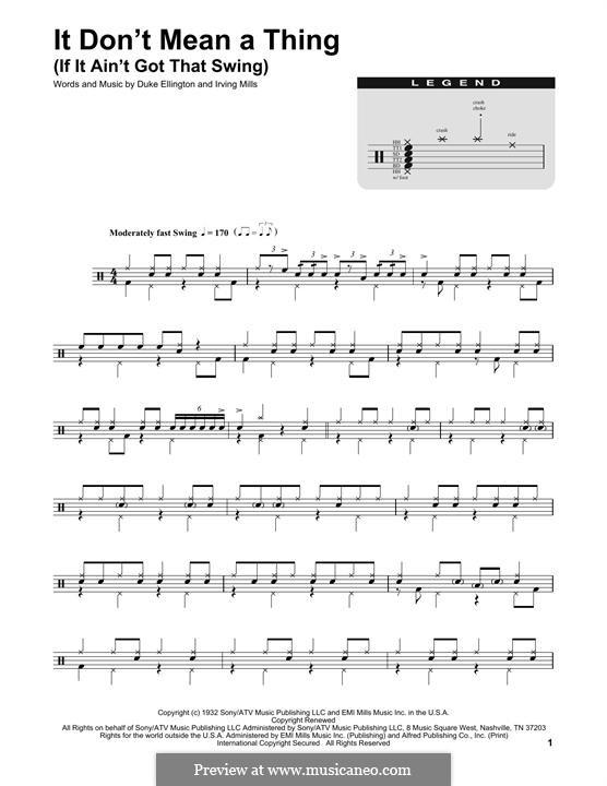 It Don't Mean a Thing (If It Ain't Got That Swing): Drum set by Irving Mills, Duke Ellington