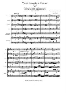 Violin Concerto No.7 in D Minor, RV 242: Score and parts by Antonio Vivaldi