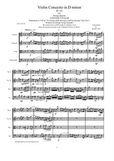 Violin Concerto No.7 in D Minor, RV 242: Arrangement for string quartet by Antonio Vivaldi