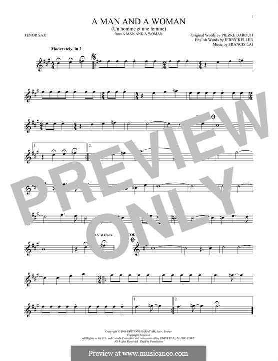 A Man and a Woman (Un Homme Et Une Femme): For tenor saxophone by Francis Lai