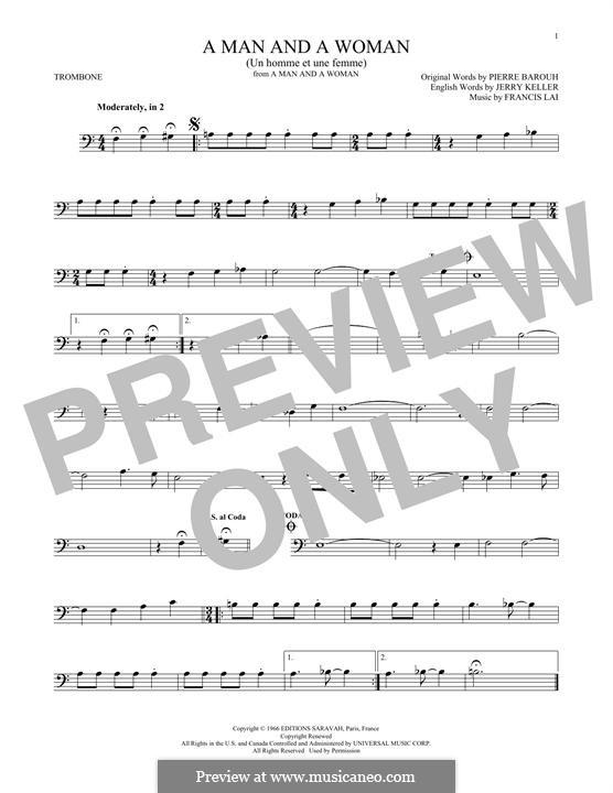 A Man and a Woman (Un Homme Et Une Femme): For trombone by Francis Lai
