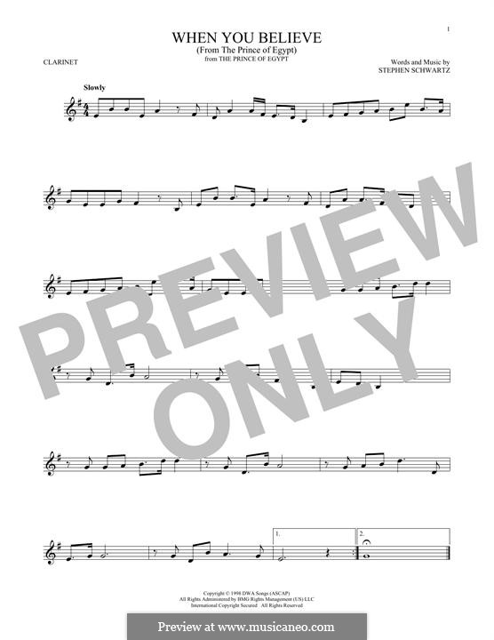 When You Believe (from The Prince of Egypt): For clarinet by Stephen Schwartz