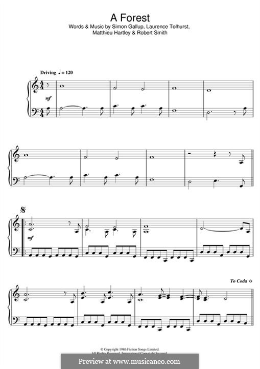 A Forest (The Cure): For piano by Laurence Tolhurst, Matthieu Hartley, Robert Gary Smith, Simon Gallup
