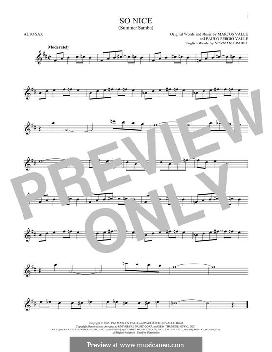 So Nice (Summer Samba): For alto saxophone by Marcos Valle, Paulo Sergio Valle