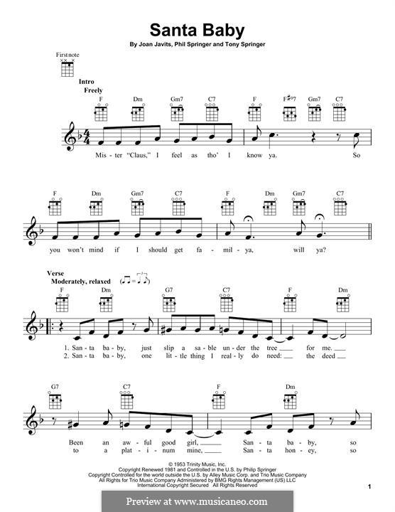 Santa Baby (Eartha Kitt): For ukulele by Joan Javits, Philip Springer, Tony Springer