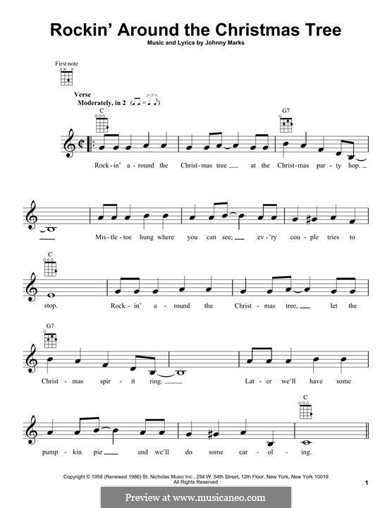 Rockin' Around the Christmas Tree: For ukulele by Johnny Marks