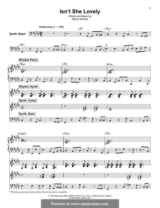 Isnt She Lovely By S Wonder Sheet Music On Musicaneo