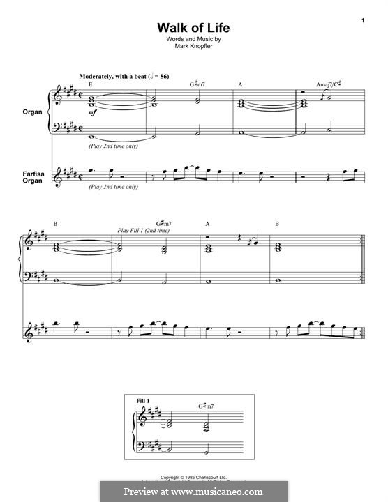 Walk of Life (Dire Straits): For organ by Mark Knopfler