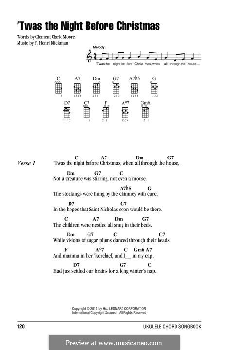 'Twas the Night Before Christmas (Clement Clark Moore): For ukulele by Frank Henri Klickmann