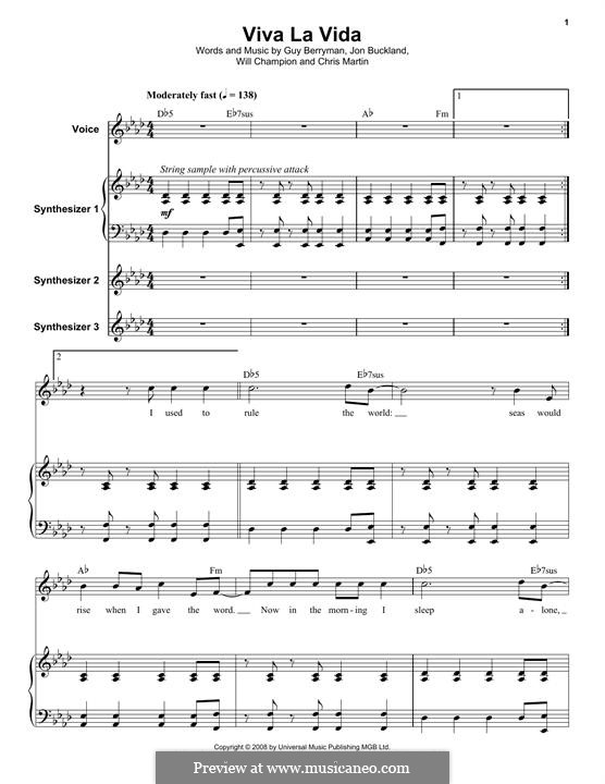 Piano-vocal score: For voice and synthesizer by Chris Martin, Guy Berryman, Jonny Buckland, Will Champion