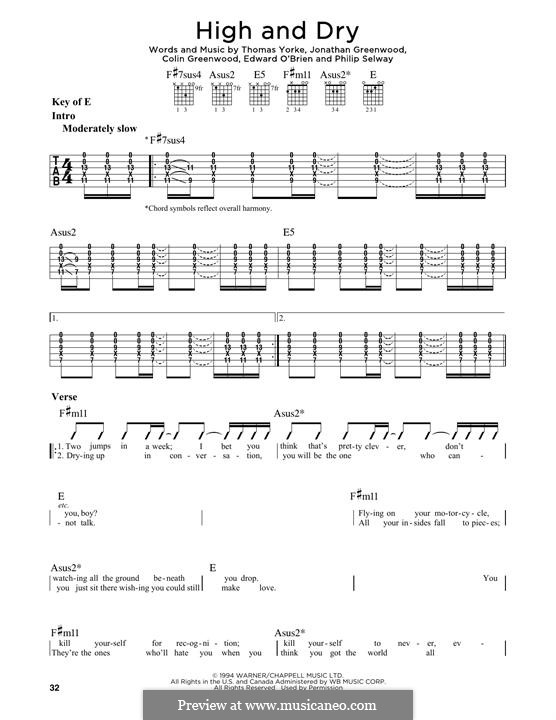 High and Dry (Radiohead): For guitar with tab by Colin Greenwood, Ed O'Brien, Jonny Greenwood, Phil Selway, Thomas Yorke