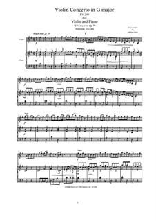 Concerto for Violin and Strings in G Major, RV 299 Op.7 No.8: Arrangement for violin and piano by Antonio Vivaldi