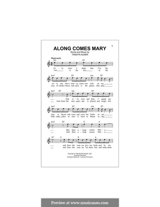 Along Comes Mary (The Association): Melody line by Tandyn Almer