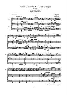 Concerto for Violin and Strings No.12 in E Major, RV 265: Arrangement for violin and piano by Antonio Vivaldi