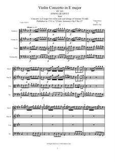 Concerto for Violin and Strings No.12 in E Major, RV 265: Arrangement for string quartet by Antonio Vivaldi