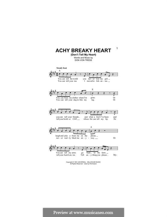 Achy Breaky Heart (Don't Tell My Heart): Melody line by Donald Von Tress
