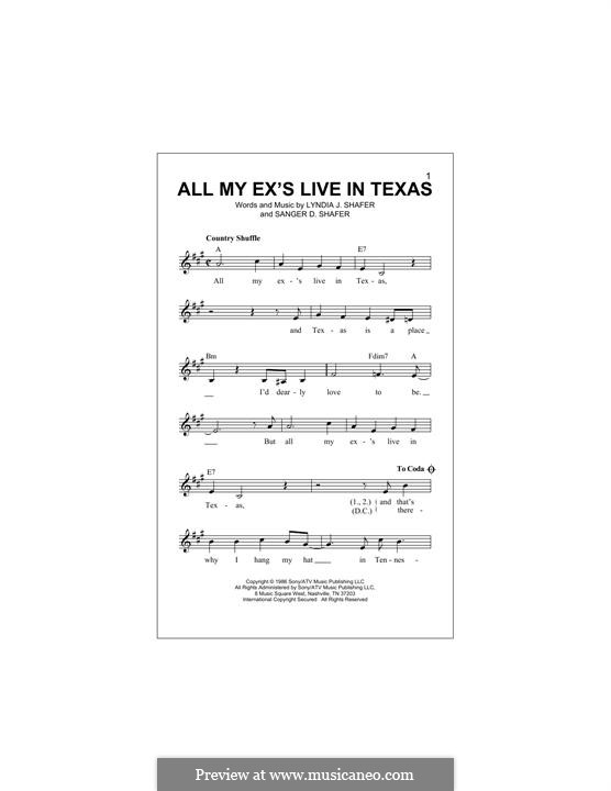 All My Ex's Live in Texas: Melody line by Lyndia J. Shafer, Sanger D. Shafer