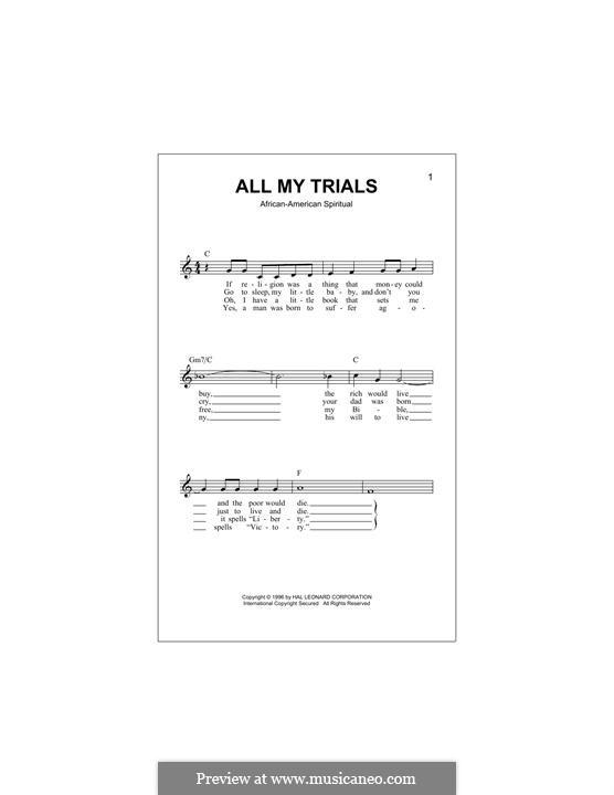 All My Trials: Melody line by folklore