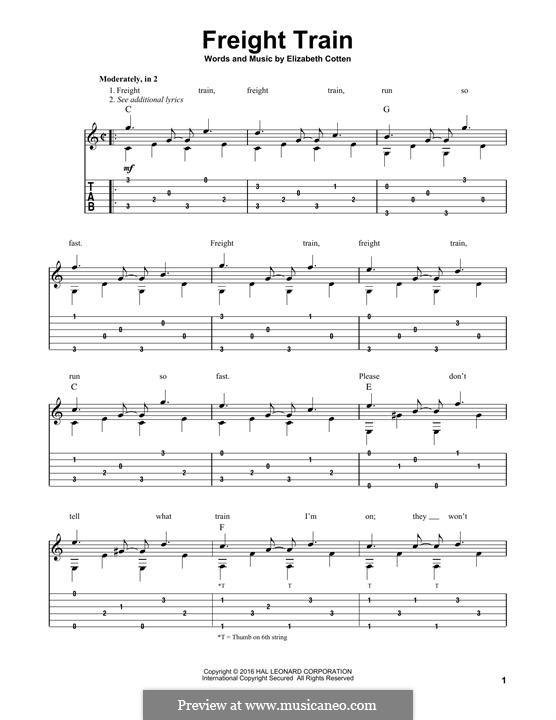 Freight Train: For guitar with tab by Elizabeth Cotten