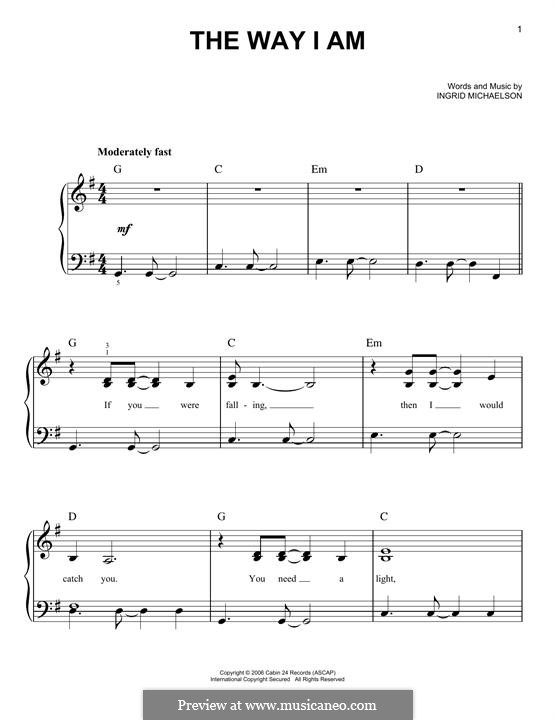 The Way I Am: For piano by Ingrid Michaelson