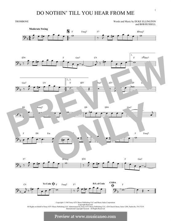Do Nothin' Till You Hear from Me: For trombone by Duke Ellington