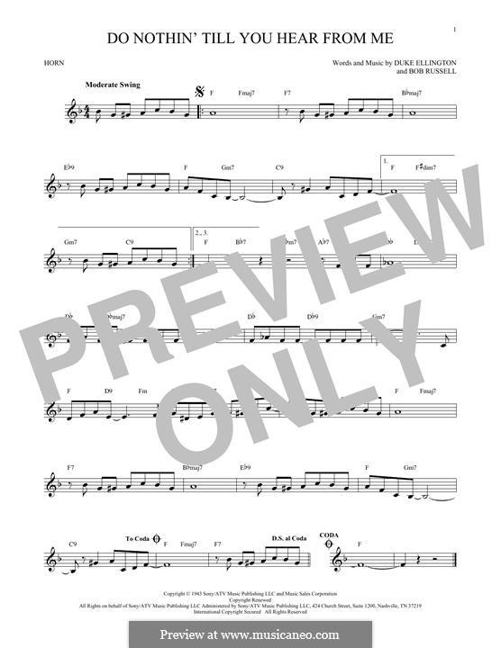 Do Nothin' Till You Hear from Me: For horn by Duke Ellington