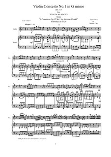 Concerto for Violin and Strings in G Minor, RV 317 Op.12 No.1: Arrangement for violin and piano by Antonio Vivaldi