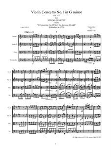 Concerto for Violin and Strings in G Minor, RV 317 Op.12 No.1: Arrangement for string quartet by Antonio Vivaldi