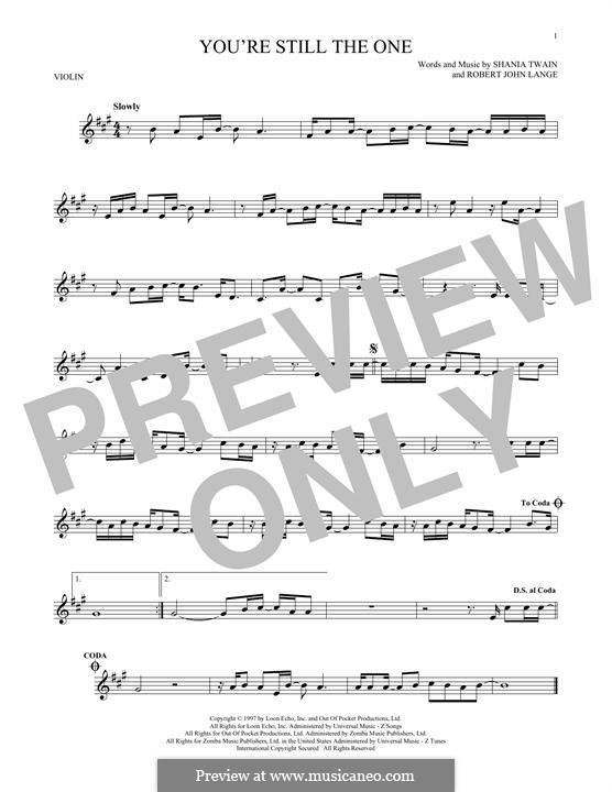 You're Still the One: For violin by Robert John Lange, Shania Twain