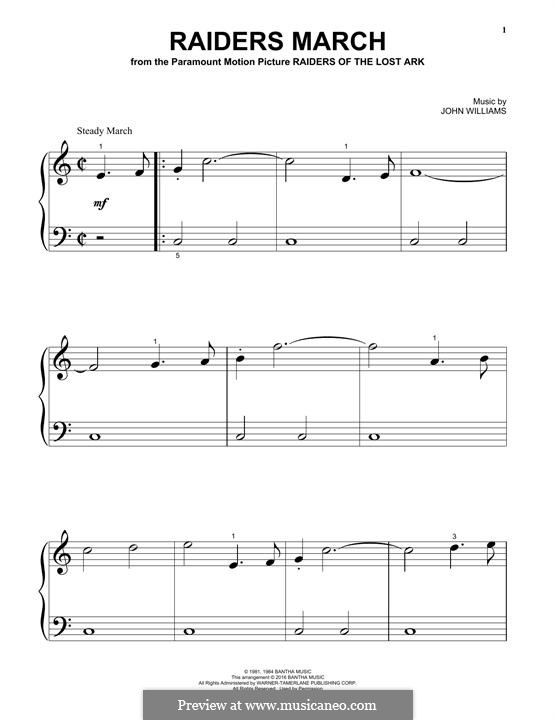 Raiders March (from Raiders of the Lost Ark): For piano by John Williams