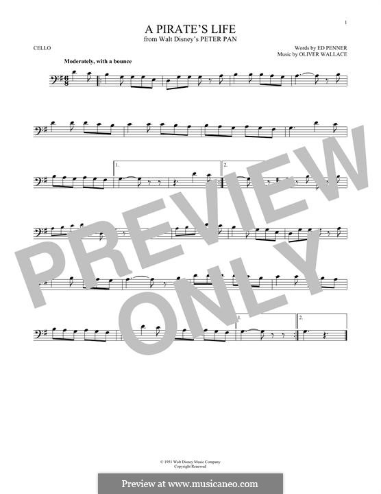 A Pirate's Life (Oliver Wallace): For cello by Ed Penner