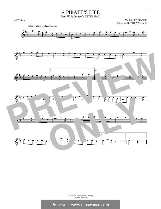 A Pirate's Life (Oliver Wallace): For alto saxophone by Ed Penner